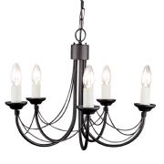 Carisbrooke 5 Light Gothic Style Chandelier finished in Black - ELSTEAD CB5 BK